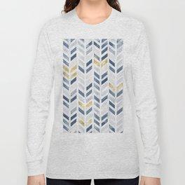 Herringbone chevron pattern. Indigo gold acrylic on canvas Long Sleeve T-shirt