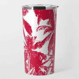 Palm Trees Design in Red and White Travel Mug