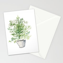 Christmas Tree in Galvanized Bucket Stationery Cards