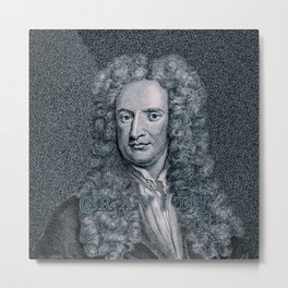 Gravity / Vintage portrait of Sir Isaac Newton Metal Print
