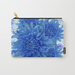 Oriental Style  Blue Chrysanthemums Garden Floral Pattern Carry-All Pouch
