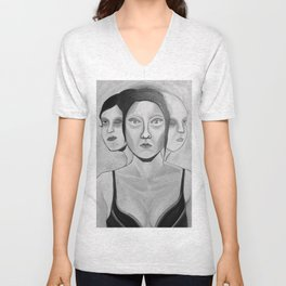 my incomplete faces Unisex V-Neck