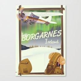 Iceland Borgarnes Flight poster Canvas Print
