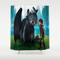 dragon Shower Curtains featuring Dragon by nurfiestore2u