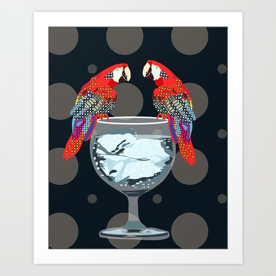 parrots on the cup of glass Art Print