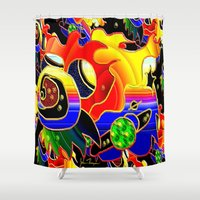 cosmic Shower Curtains featuring Cosmic by JT Digital Art