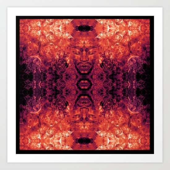 Brother Meditation - red purple Art Print