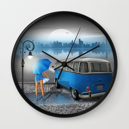 Blue rainy night Wall Clock