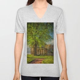 The Stone Cottage On A Spring Evening Unisex V-Neck