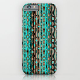 Retro Bohemian Gypsy Beaded Dangles // Vertical Gradient Chocolate Brown, Turquoise, Teal iPhone Case