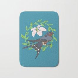 Floral Bird Illustration Spring Print Bath Mat
