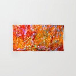 Abstract with Circle in Gold, Red, and Blue Hand & Bath Towel
