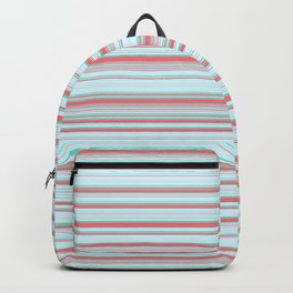 Sky Blue Red Candy Lines Backpack