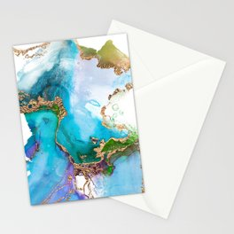 Abstract Marble Mermaid Gemstone With Gold Glitter Stationery Cards