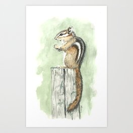Chipmunk on a Fence Post - Watercolor Art Print