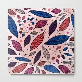 Leaves in Color Illustration Metal Print
