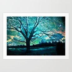 Surreal Gothic Haunting Trees Nature Aqua Blue Infrared Nature Landscape Art Print