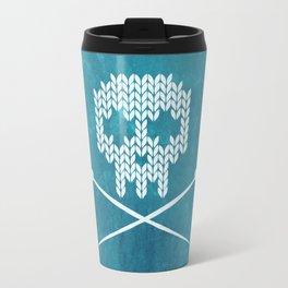 Knitted Skull (White on Blue) Travel Mug