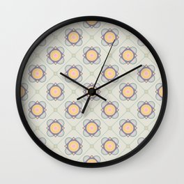 New Beginnings Flower Print Seamless Pattern Wall Clock