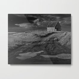 Farm building along the coast on Prince Edward Island in Black and White Metal Print
