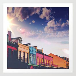 Sunny Blue Skies and New Orleans French Quarter Architecture Cityscape Art Print