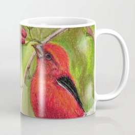 Raspberries Red Bird Nature Art Scarlet Tanager by Laurie Leigh Coffee Mug