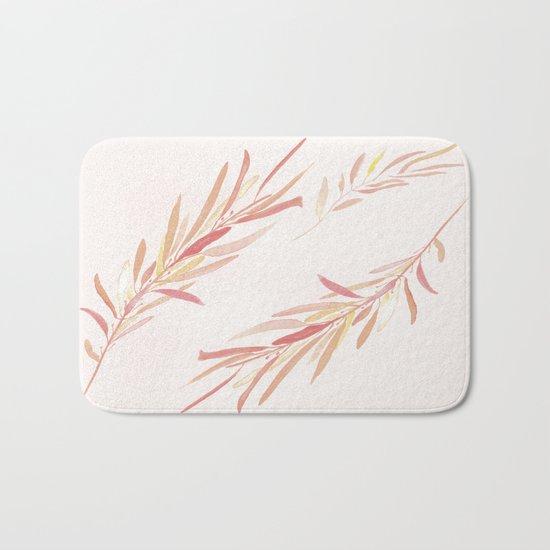 Eucalyptus Leaves Pink Bath Mat