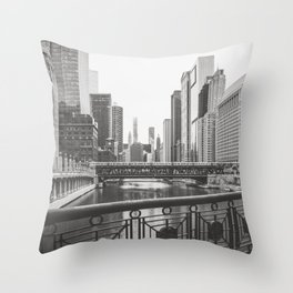 Chicago River Black and White Throw Pillow