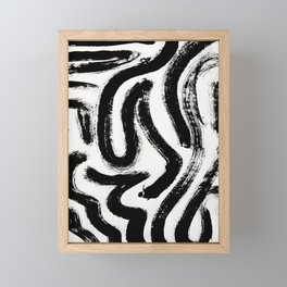 Black and White Abstract Pattern 1: A minimal black and white pattern by Alyssa Hamilton Art Framed Mini Art Print