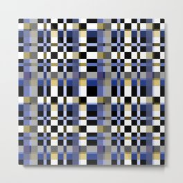 Blue brown plaid Metal Print