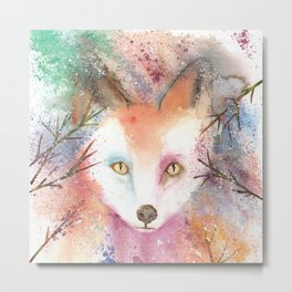 Loose Watercolor Red Fox Metal Print