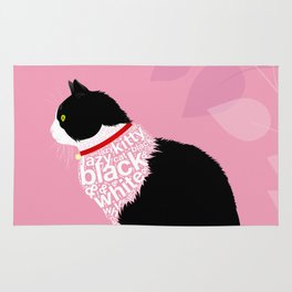 Typographic black and white lazy kitty cat on pink  #typography #catlover Rug