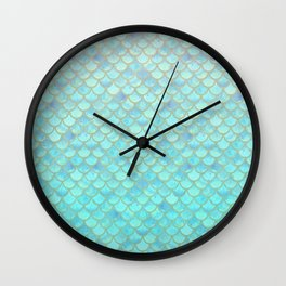 Teal Mermaid Scales Wall Clock