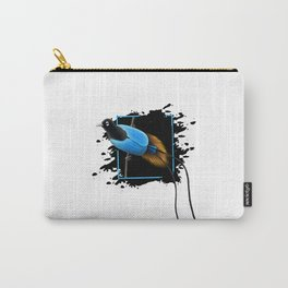 Blue Bird-Of-Paradise In Art Carry-All Pouch