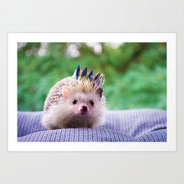 Hedgehog Wearing a Crown (Color) Art Print