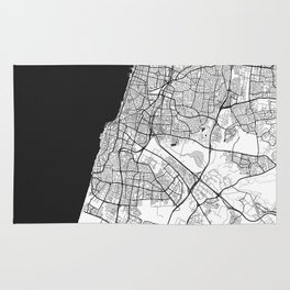 Tel Aviv Map Gray Rug