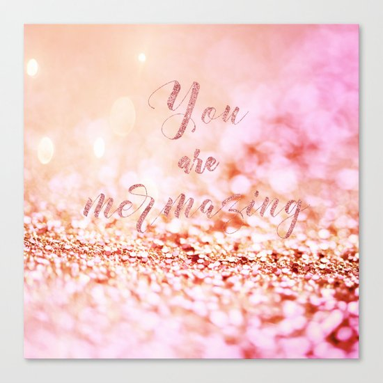 Mermaid pink glitter typography - You are mermazing Canvas Print