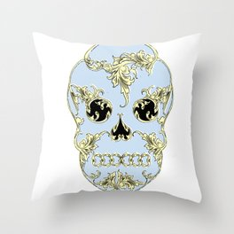 Rococo Skull Throw Pillow