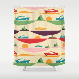 50s Retro Road Trip Beige #midcenturymodern Shower Curtain