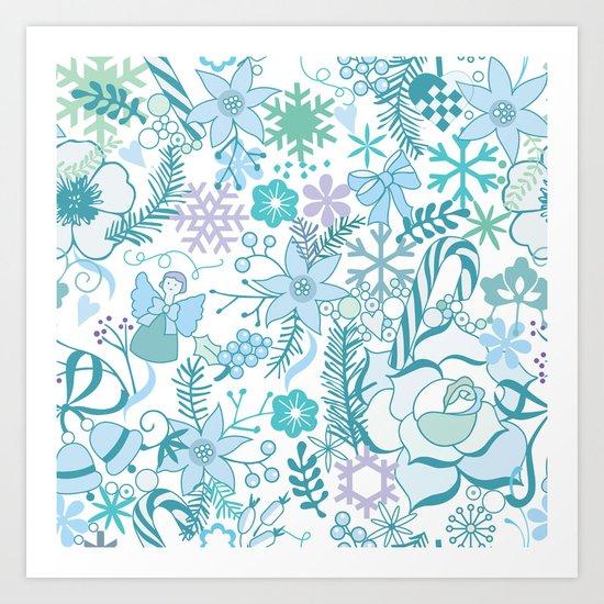 Bright xmas pattern Art Print