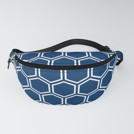 Dark blue and white honeycomb pattern Fanny Pack