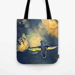 Golden Blue Hummingbird by CheyAnne Sexton Tote Bag