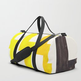 Yellow Geometric Minimalist Watercolor Geometric MInimalist Mid Century Modern Lightning Bolt Patter Duffle Bag