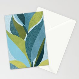 In The Shadows / Abstract Maximal Flora in French Blue and Olive Stationery Cards