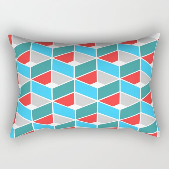 Simple Pattern Blue and Red Rectangular Pillow
