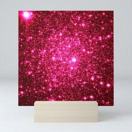 Hot Pink Glitter Galaxy Stars Mini Art Print