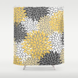 Modern Elegant Chic Floral Pattern, Soft Yellow, Gray, White Shower Curtain