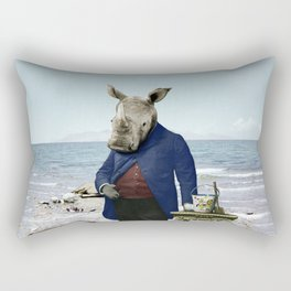 Mr. Rhino's Day at the Beach Rectangular Pillow