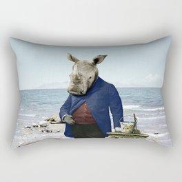 Mr. Rhino's Day at the Beach Rectangular Pillow