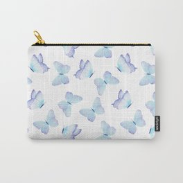 Lilac aqua blue watercolor hand painted butterfly Carry-All Pouch